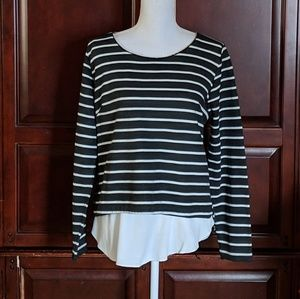 PBO Layered Look Decorated Neckline Top Size L